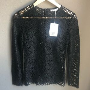 NWT & Other Stories Long Sleeve Black Top eyelet